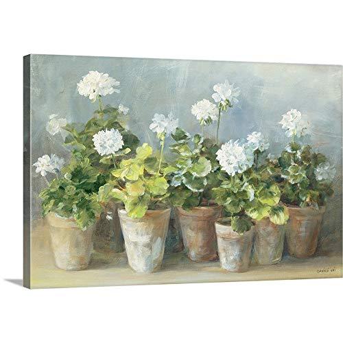 White Geraniums Canvas Wall Art Print, 18
