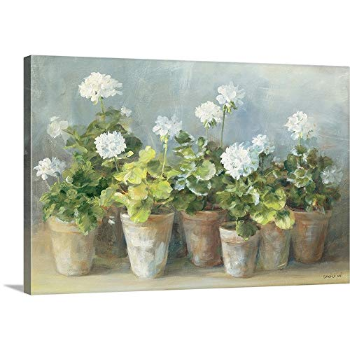 Geraniums Art - White Geraniums Canvas Wall Art Print, 18