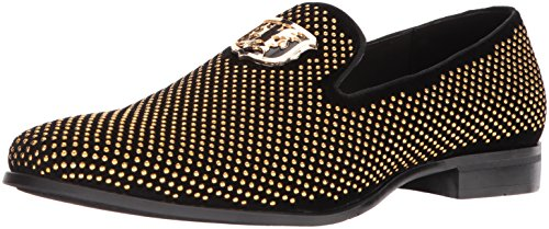 (STACY ADAMS Men's Swagger Studded Ornament Slip-On Driving Style Loafer, Black/Gold, 8 M US)