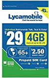 Lycamobile Prepaid Plans SIM Card Triple Cut Unlimited NATL Talk & Text to US and 60+ Countries (35$Plan, 30days)
