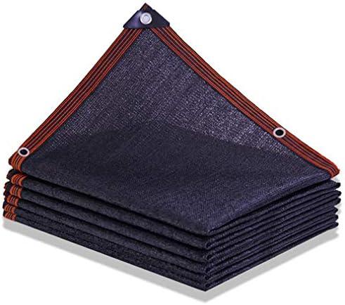 HUYYA 90%日焼け止め シェード 布 ネット、シェーディングネット ミシン目付き 遮光日よけネット 強化エッジ オーニングシェード 角補強 テラス用,Black_3x4m/9x12ft
