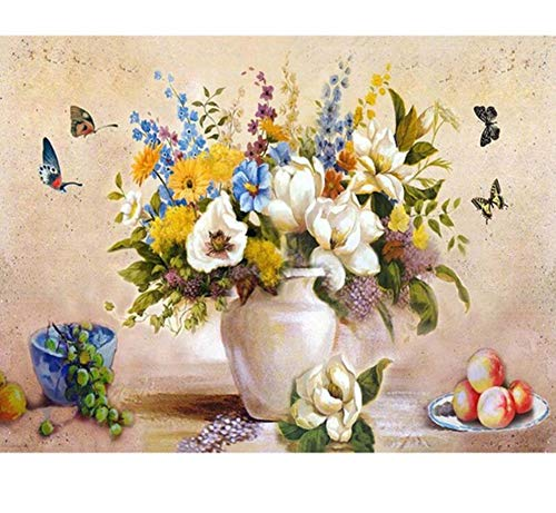 Jigsaw Puzzles 1000 Piece Wooden Puzzle DIY White Vase and Butterfly Scenery Modern Home Game Toy Home Decoration Art ()