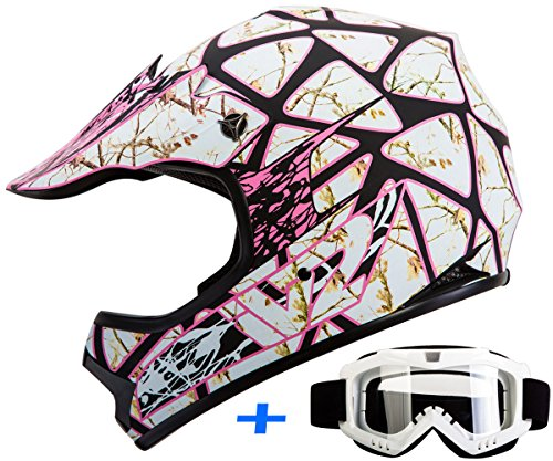 Youth Kid Motocross Motorsport ATV UTV Dirt Bike Helmet Goggles Combo Deal DOT (L, RealTree Pink)