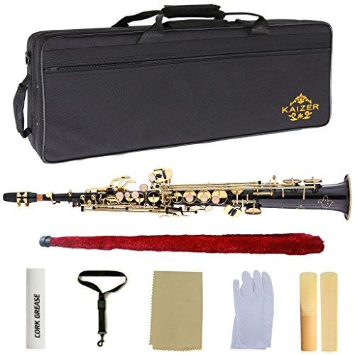 Kaizer Soprano Saxophone Straight B Flat Bb Black Lacquer Gold Keys -