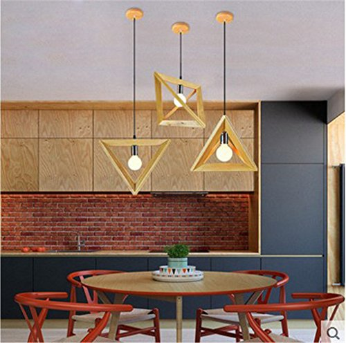 Scandinavian modern simple creative wood art personality restaurant lamp living room bar desk decoration chandelier, 40x35cm by Baron W.H