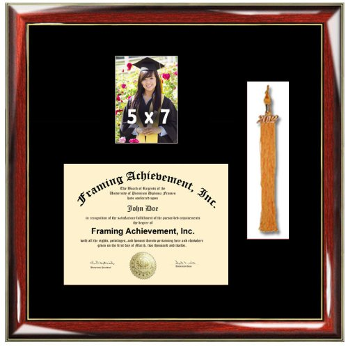 University Diploma Frame with 5 x 7 Graduate Photo and Graduation Tassel Box - Premium Wood Glossy Prestige Mahogany with Gold Accents - Single Black Mat - Graduation Picture Frame