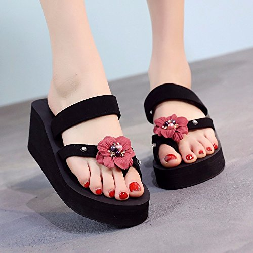 British bottom beach LIUXINDA resort seaside XZ fashion with skid flops holiday shoes thick anti New heels red flowers high and flip 5qzrqP