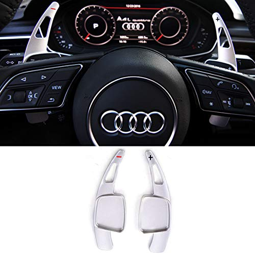 Steering Wheel Paddle Shifter Extensions For Audi, TTCR-II Alu-Alloy Shift Paddle Blades Compatible with Audi A3 A4 Q7 S3 2017-2019 A5 Q5 S4 S5 SQ5 2018-2019 Q8 2019 TT TTS 2016-2019(Matt Silver)