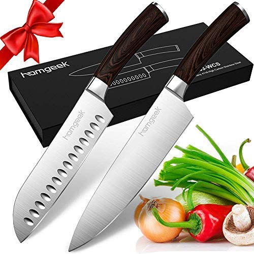 Homgeek Kitchen Chef's Knife Set 8inch, 2 Piece Ultra Sharp Cutting Knife 8 inch Chef Knife & 7 inch Santoku Knife, German High Carbon Stainless Steel Knives with Ergonomic Handle for Home Restaurant from homgeek