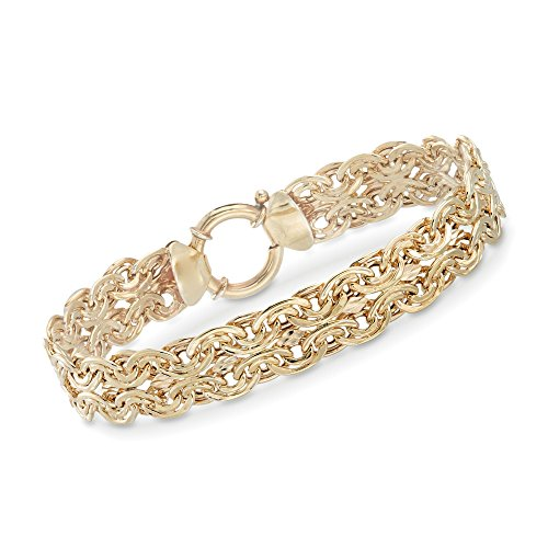 (Ross-Simons 18kt Gold Over Sterling Silver Two-Row Double Oval-Link Bracelet. 8