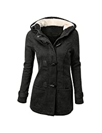 Women's Winter Casual Faux Fur Hooded Horn Button Wool Trench Coat Outwear Jacket