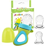 Zooawa Baby Fresh Food Feeder, 3 Different Sized Food & Fruit Pacifier Soft Silicone Teether Nipple Teething Toy for Infants, BPA-free, for Over 3 Months Baby