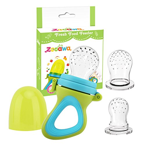 Zooawa Baby Food Feeder, Soft Silicone Mesh Fruit & Food Feeder Pacifier Teether Feeding Pacifier Teething Toy for Infants, BPA-Free, 3 Different Sized, Green + Blue from Zooawa