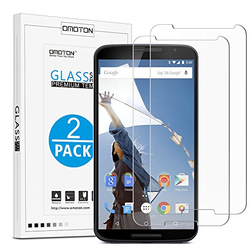 OMOTON Tempered Glass Screen Protector for Google Nexus 6, 6.0 Inch, 2 Pack