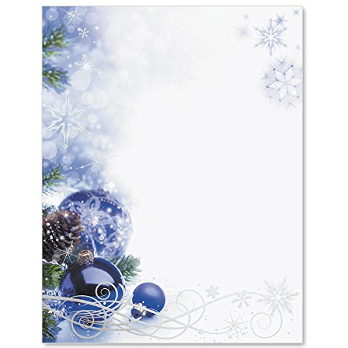 Silver Foil Sapphire Christmas Specialty Border Papers, 8.5 x 11 Inches, 28lb Laser and Inkjet Compatible Paper, 100 Count