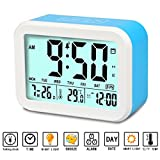 Digital Alarm Clock, Aitey Talking Clock with 3 alarms, Optional Weekday Alarm, Intelligent Noctilucent & Snooze Function, Month Date & Temperature Display for Adults, Kids & Teens (Blue)