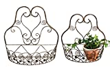 Whole House Worlds French Country Wall Basket for Plants, Set of 2, Crested Arabesque, Curled Iron, Bronze Tone, Garden Pot Holders, 1-15 1/2 x 5 1/2, and 2-12 1/2 x 5 1/2 inches, by WHW