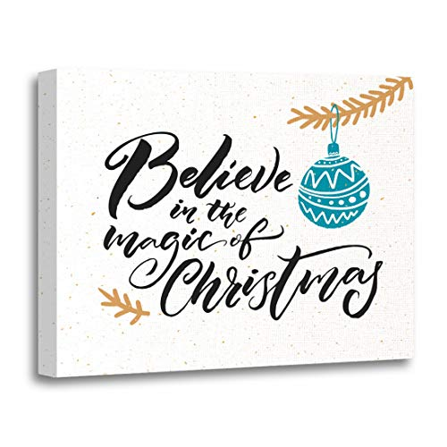 Tinmun Painting Canvas Artwork Wooden Frame Believe in The Magic of Christmas Caption Tags Tree 12x16 inches Decorative Home Wall Art -