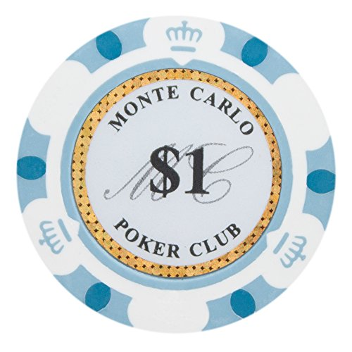 Brybelly Monte Carlo Premium Poker Chips Heavyweight 14-gram Clay Composite - Pack of 50 ($1 White)