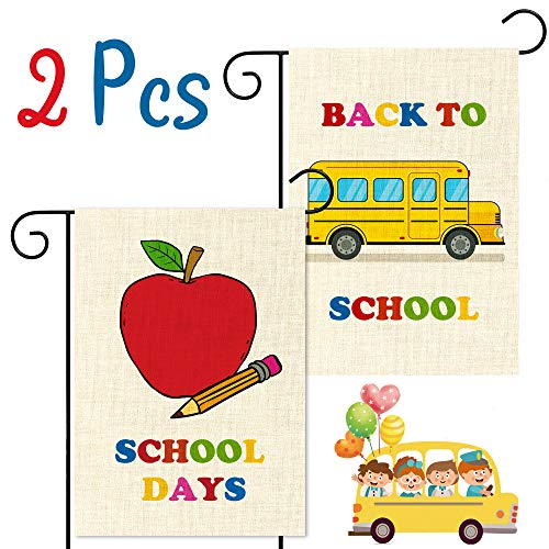 WATINC 2Pcs Back to School Garden Flag Apple School Bus Flag for School Days Decorative Double Sided Burlap Lawn Yard Flags for Indoor Outdoor Decoration 12.4 x 18.3 Inch -