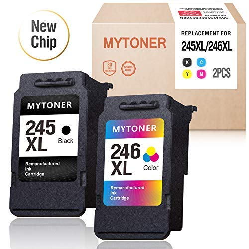 - MYTONER Remanufactured Ink Cartridge Replacement for Canon PG245 CL246 245XL 246XL PG243 CL244 for Pixma iP2820 MX492 MX490 MG3022 MG3020 MG2522 MG2525 MG2920 MG2922 TS3120 (1 Black, 1 Tri-Color)