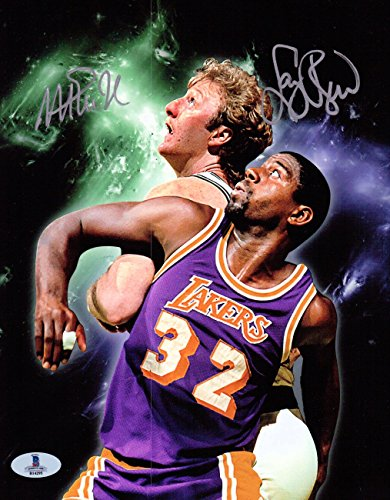 Magic Johnson Larry Bird Dual Signed Autographed 8X10 Photo Mosaic Beckett