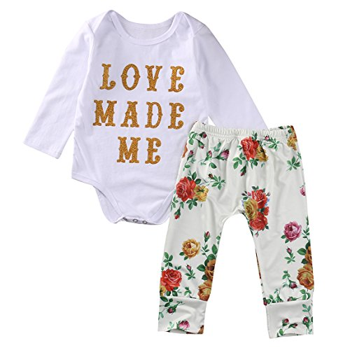 Toddler Baby Girls LOVE MADE ME Long Sleeve Bodysuits+ Floral Pants Outfit Set Clothes (3-6M, Floral)