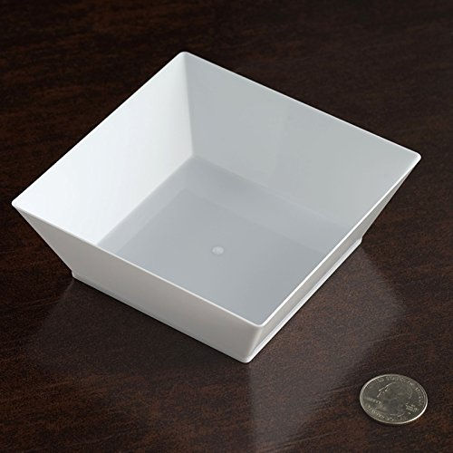 BalsaCircle 36 pcs 10 oz White Plastic Square Bowls - Disposable Wedding Party Catering Tableware