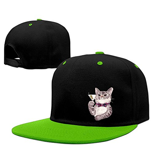Wine Cat Hip Hop Baseball Caps Comfortable Flat Bill Plain Snapback Hats KellyGreen