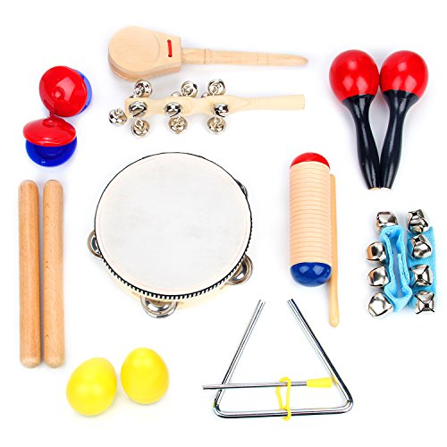 Musical Instrument Set 16 PCS | Rhythm & Music Education Toys for Kids | Clave Sticks, Shakers, Tambourine, Wrist Bells & Maracas for Kids | Natural Toys with Carrying Case by Boxiki Kids ()