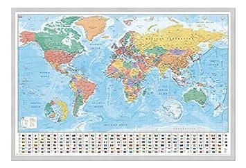 Weltkarte Mit Flaggen Und Fakten Poster Silber Gerahmt Seidenmatt