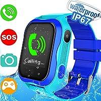 GreaSmart - tarjeta SIM incluida– Reloj inteligente para niños con localizador GPS, podómetro, rastreador de fitness, cámara táctil, linterna, reloj despertador anti pérdida, regalo de cumpleaños