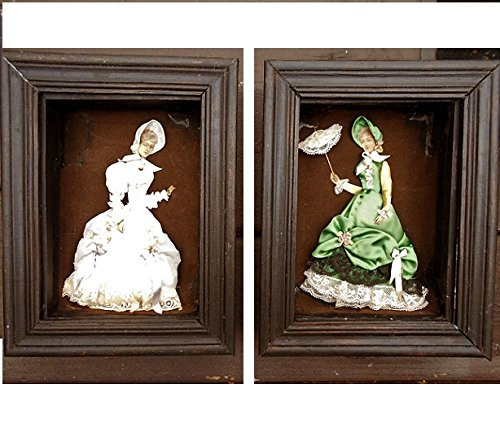 Ribbon & Stumpwork Embroidery of Victorian Ladies Fashion Example La Mode IIlustree 1880 in 2 Vintage Wood Shadow Boxes. Your Choice 1 or Pair for $350.00. (Vintage Wood Doll)