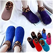 Christmas Stockings,Indoor Non-Slip Thermal Socks,7 Pairs Indoor Non-Slip Thermal Slipper Socks Women Leopard