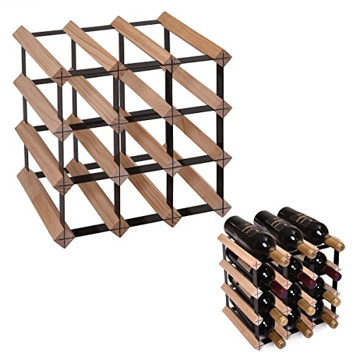 JAXPETY 12 Strong Bottle Holder Wine Rack Complete Wooden Wine Storage Pine Stand by JAXPETY