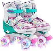 Runcinds Toddler Roller Skates for Girls Kids, 4 Size Adjustable Kids Roller Skates for Little Girls with Ligh
