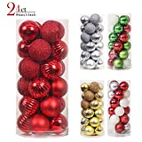 Valery Madelyn Red Christmas Tree Ornament Balls 24pc 1.57in Deal (Small Image)