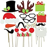 Cxy Photo Booth Props DIY Kit for Kids When Christmas Party, Various Colors of Mustache, Glasses Frames, Hat, Lips, Reindeer, Pipe, Ties, Carrot, Gift and Santa Claus Frame(Pack of 17)