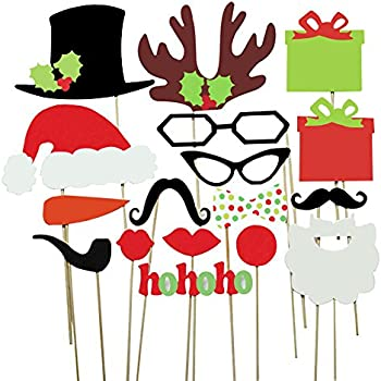Amazon tinksky 62 pcs 2018 new years photo booth props for cxy photo booth props diy kit for kids when christmas party various colors of mustache glasses frames hat lips reindeer pipe ties carrot solutioingenieria Image collections