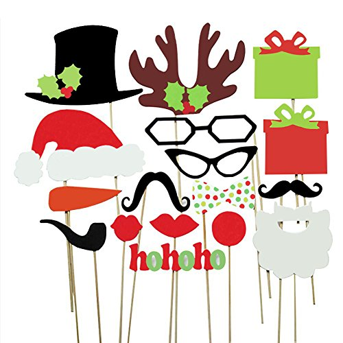 Cxy Photo Booth Props DIY Kit for Kids When Christmas Party, Various Colors of Mustache, Glasses Frames, Hat, Lips, Reindeer, Pipe, Ties, Carrot, Gift and Santa Claus Frame(Pack of 17) (Gift Christmas Photo Prop)