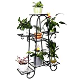 wrought iron plant stands 7 Tier Metal Plant Stand Shelf Indoor Wrought Iron Plant Stands Outdoor Multilayer Potted Planters Display Rack Patio Garden, Size: 66 x 22 x 102cm