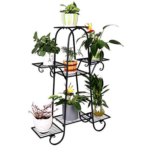 7 Tier Metal Plant Stand Shelf Indoor Wrought Iron Plant Stands Outdoor Multilayer Potted Planters Display Rack Patio Garden, Size: 66 x 22 x 102cm