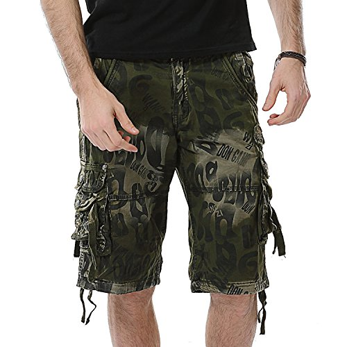 - AOYOG Mens Shorts Casual Cargo Shorts Athleisure Sports Shorts Cotton, Army Green Camouflage 2292, Lable size 36(US 34)
