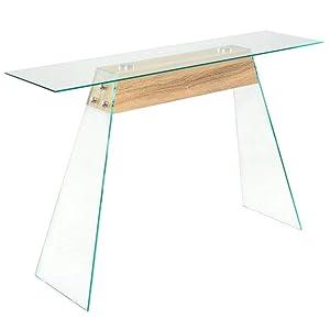 vidaXL Table Console MDF et Verre Couleur de Chêne Table d'Entrée Chambre