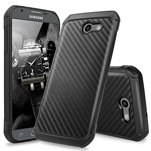 TJS Case for Samsung Galaxy J3 Emerge/J3 Prime/Amp Prime 2/Express Prime 2/Sol 2/J3 Mission/J3 Luna Pro/J3 Eclipse, Hybrid Shock Absorbing Phone Cover Carbon Fiber Back Hard TPU Inner Layer - Eclipse Hybrid