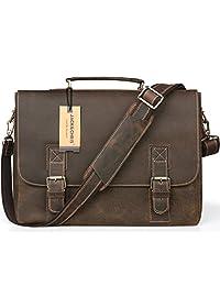 Jack&Chris® Men's Genuine Leather Briefcase Laptop Bag Messenger Shoulder Bag, N8069
