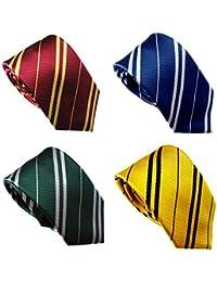 4 Pack Pinstriped Formal Necktie Tie Set (Red, Blue, Green, Yellow)