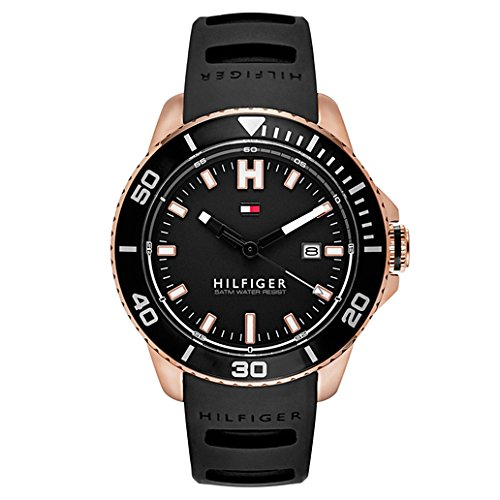 Tommy Hilfiger Men's Quartz Gold and Silicone Watch, Color:Black (Model: - Hilfiger New Arrivals Tommy