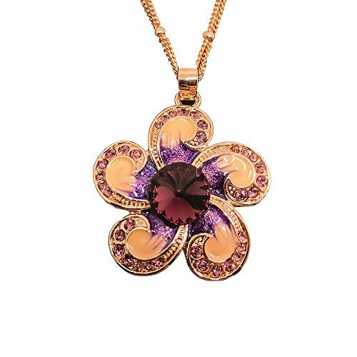 l Flower Pendant Necklaces 14K Gold Plated with Crystal Original Design ()