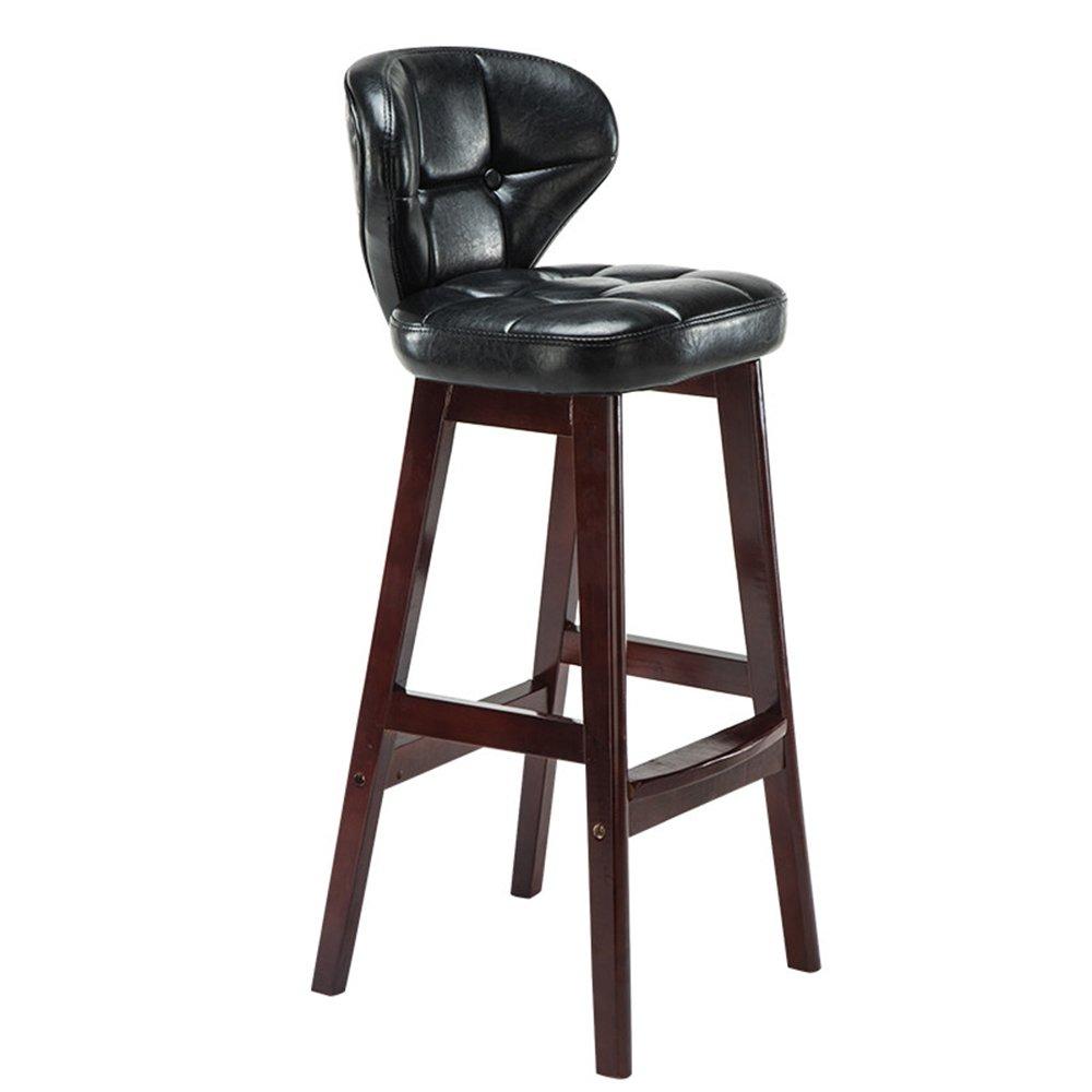 スツールソリッドウッドバーチェアレトロオイルクッションバーレストランコーヒーショップチェア高さ75cmブラウンホワイトブラックレッド (色 : ブラック, サイズ さいず : B) B07CKK4MTN B|ブラック ブラック B